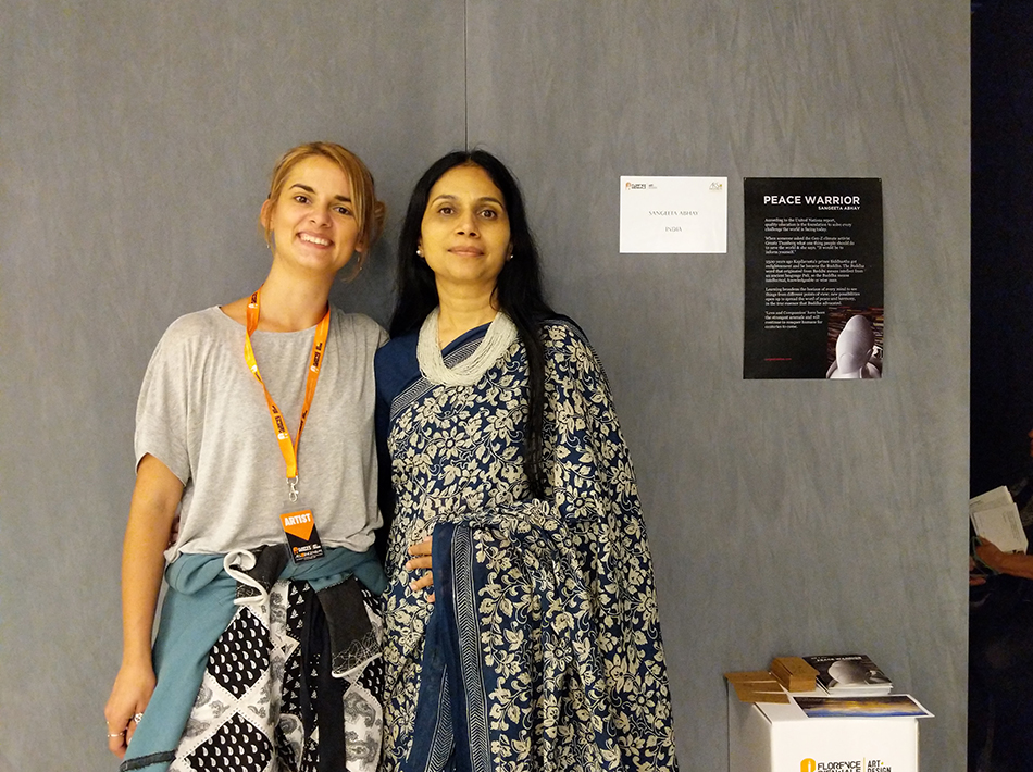 Sangeetha Abhay With fellow artist in Peace Warrior Sculpture in Florence Biennale