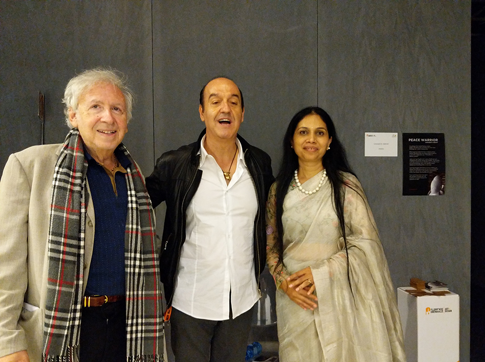 Sangeetha Abhay With her Sculpture Visitors in Florence Biennale