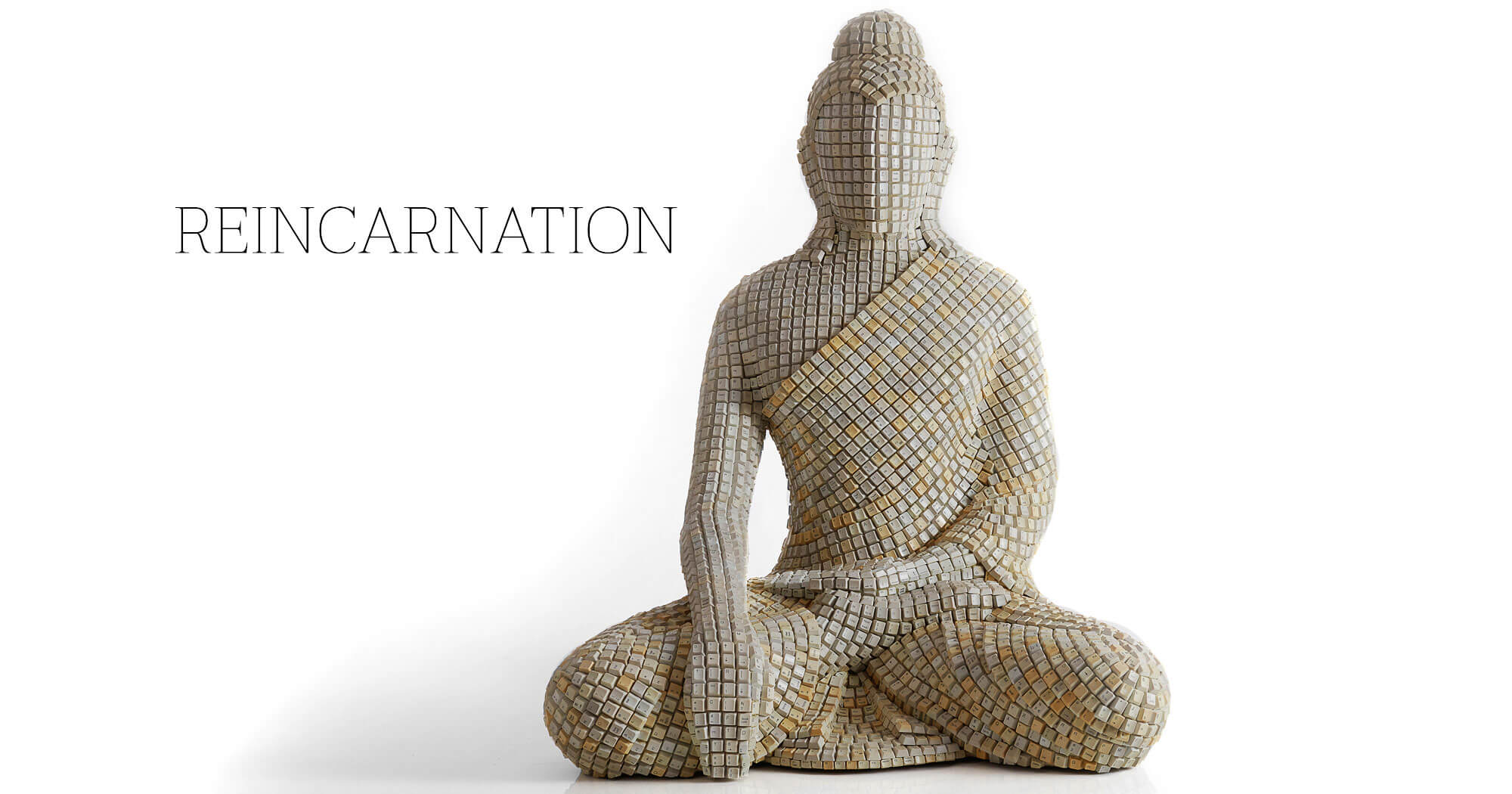 Sangeeta Abhat reincarnation buddha sculpture, sculpted by using keyboards keys.